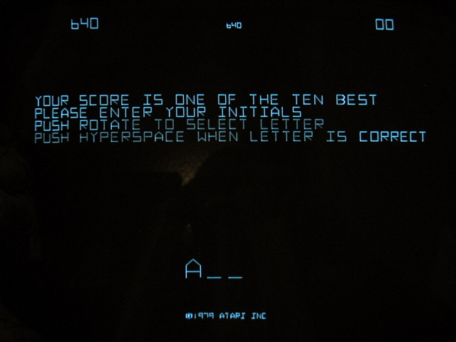 Vectrex monitor displaying highscore message